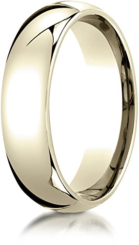 Benchmark 14K Yellow Gold 6mm Slightly Domed Standard Comfort-Fit Wedding Band Ring, Size 9.25 14k Gold Womens Wedding Band 6mm