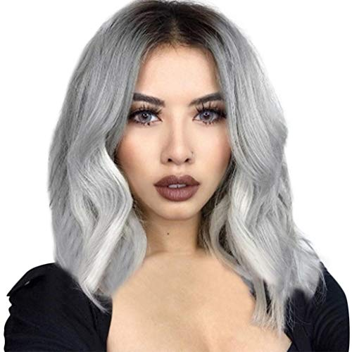 Baulody Curly Wigs Female Synthetic Wig Gray Short Afro Full Wigs Synthetic Two Tone for Wigs Women 12.5 inches (Gray) ()