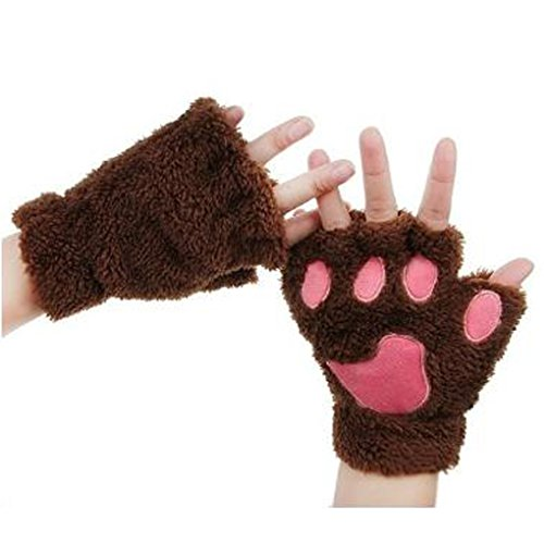 Caszel Women Cashmere Cute Cat Claw Bear Paw Fingerless Plush Gloves for Halloween ()