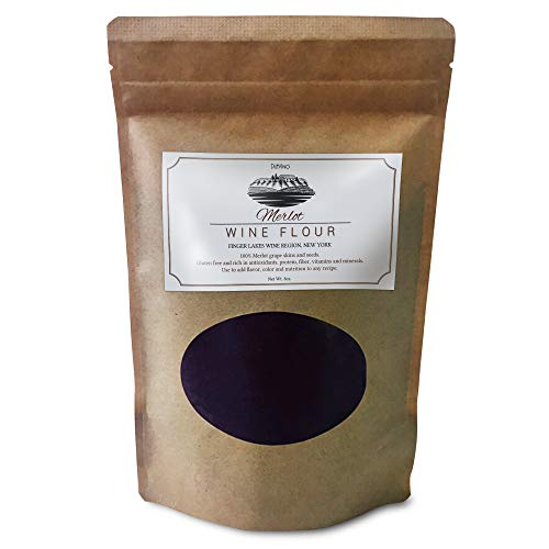 Strawberry Wine Merlot (Merlot Wine Flour/Wine Powder made 100% from Grape Skins and Seeds grown in NY Wine Region- Gluten Free Flour Rich in Antioxidants, Protein & Fiber- Use to Add Flavor, Nutrition and Color)
