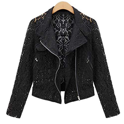 Coated Biker Style Jacket - substitution Long Sleeve Zipper Hollow Out Lace Biker Black Short Jackets Ladies Office Work
