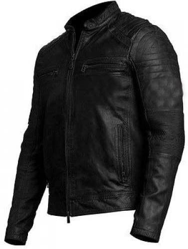 Pride Leather Motorcycle Cafe Racer Distressed Brown /& Black Leather Jacket