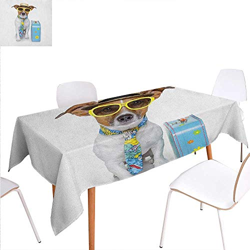 Warm Family Dog Washable Tablecloth Traveler Funny Dog Dressed as a Tourist with Hat Glasses Necktie and a Floral Suitcase Waterproof Tablecloths 60