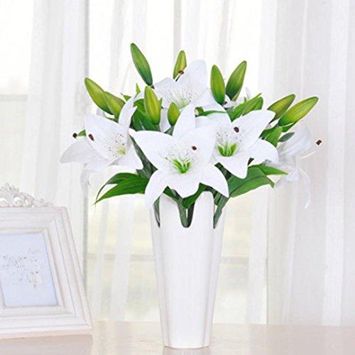 Mikey Store 5pcs New Silk Flower Artificial Lilies Bouquet 3 Heads Home Wedding Floral Decor (White) - Red Medium Stem Rose Bouquet