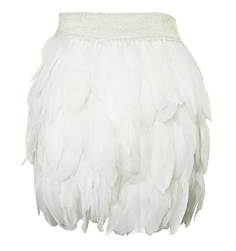 L'VOW Women Real Natural Feather Fashion Mid Waist Mini A-line Skirt (S(6), White)