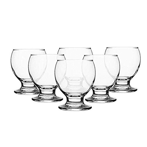 Shot Glasses Set of 6 Heavy Base Clear Round Glass Liqueur Whiskey Coctail Spirits Bar Footed Drinkware 1.75 oz Dishwasher Safe Made in Turkey (NEC309, 6)