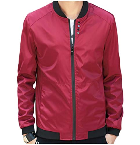 Solid Wine Baseball Colored Collar with Zips up Red MogogoMen Stand Jackets qtw7w