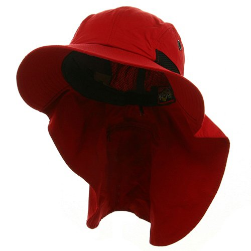 UV 45+ Extreme Condition Flap Hats -Red (For Big Head) (Flap E4hats Cotton Hat)