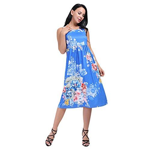 460fb0e84aa7 HUHHRRY Women s Floral Summer Dress Racerback Sleeveless Casual Tunic Mid  Length Maxi Dresses at Amazon Women s Clothing store