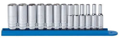 "GearWrench 80304 13 Pc. 1/4"" Drive 6 Point Deep Metric Socket Set"