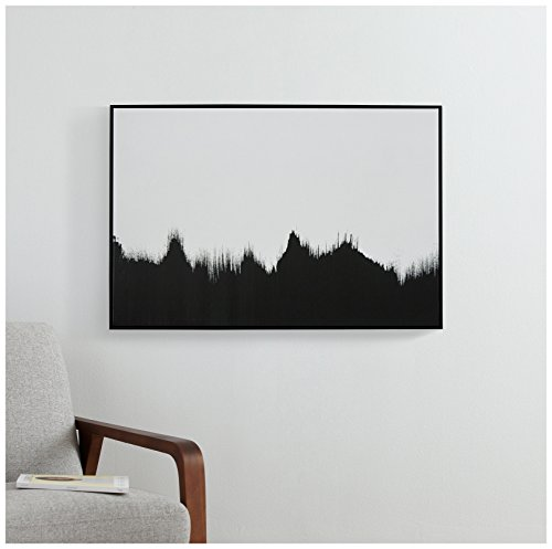 "41GfRDflLML Abstract Black and White Print of Tree Line in Black Frame, 38"" x 26"""