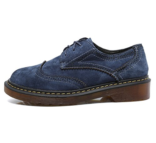 Smilun Girl¡¯s Derby Classic Lace-up Shoes Suede Faux Leather Flats Office Business Dress Shoes for Girl Dark Light Blue Size 6 B(M) US by Smilun (Image #2)