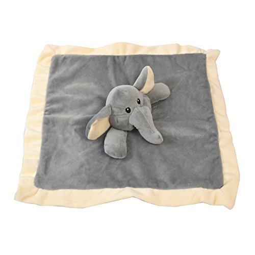 Lovey Security Blanket 12 inch Square Stuffed Animal Baby Blankie for Girls or Boys (Elephant) by Baberoo