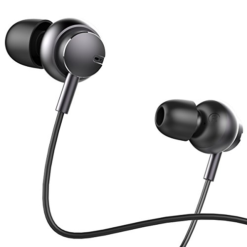 Earbuds with Microphone,ROCK SPACE Noise Cancelling Metal Earphones with Mic and Volume Control Ergonomic Design Stereo Tangle Free in-ear Headphones for iPhone Samsung HTC LG Xiaomi MP3 MP4 and More