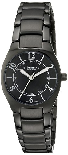 Stuhrling Original Womens 112L.125B1 Classic Ascot Regalia Swiss Quartz Ultra Slim Black Watch