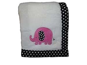 Cozy Fleece Coral Fleece Baby Blanket, Pink Elephant
