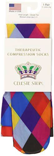 Celeste Stein Therapeutic Compression Socks, Mini Harlequin, 15-20 mmhg, 1-pair
