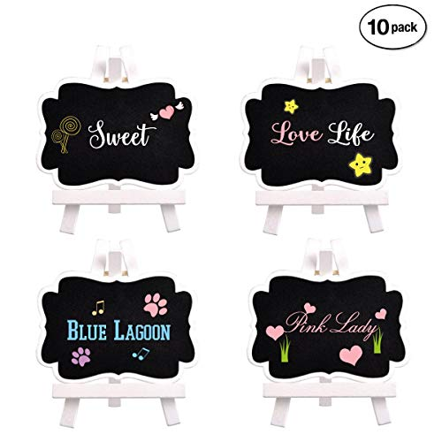 Mini Chalkboards Pack of 10, Algimo Wooden Small Chalkboard Signs with Easel Stand, Easel Chalkboards for Wedding Decorations, Birthday Party, Buffet and Baby Shower as Food Signs, Tags and Dish Signs]()