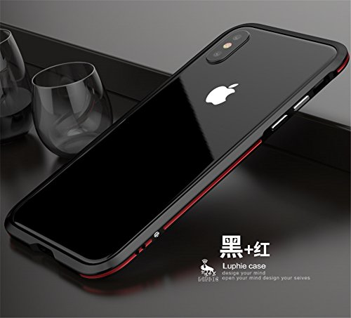 (DAYJOY for iPhone X/XS, Dual Color Premium Aluminum Metal Shockproof Bumper Frame Case for Apple iPhone X/XS(Black)
