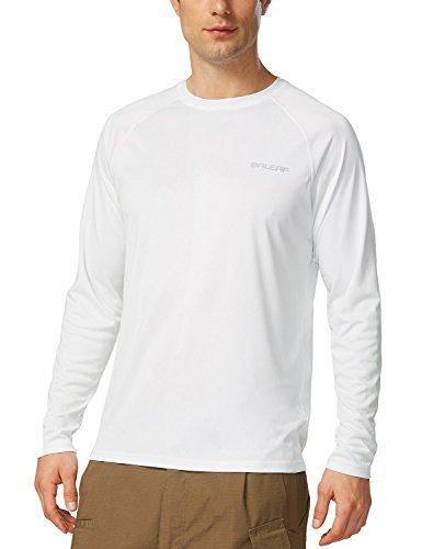 Baleaf Men's UPF 50+ Outdoor Running Long Sleeve T-Shirt White Size L