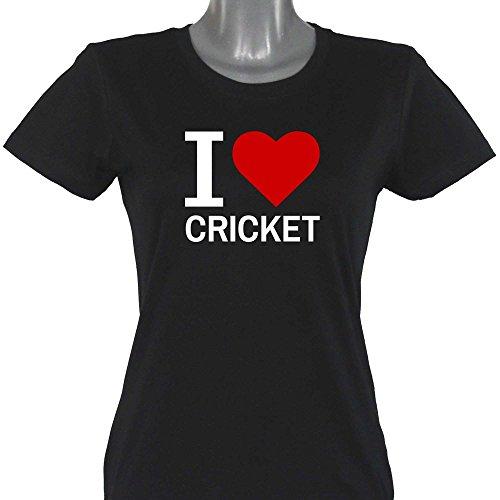T-Shirt Classic I Love Cricket schwarz Damen Gr. S bis XXL