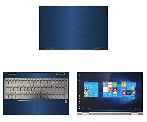 """Decalrus - Protective Decal for Lenovo Yoga C740 (15.6"""" Screen) Laptop Blue Texture Brushed Aluminum Skin case Cover wrap BAlenovoYoga15_C740Blue"""