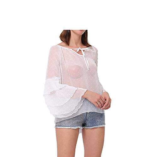 Spinning tops Solid Color Women's Shirt Cool Cool Wild Sexy Chiffon Shirt Factory,White,M