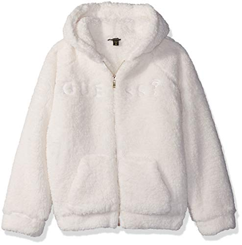 GUESS Girls' Big Long Sleeve Zip Up Graphic Logo Hoodie, White Clay a a, 14 (Guess Zip Up Jacket)