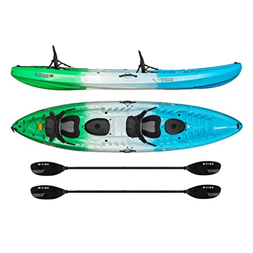 Vibe Kayaks Skipjack 120T 12' Tandem Sit On Top Kayak 2 or 3 Person Package (Sea Breeze) - Includes...