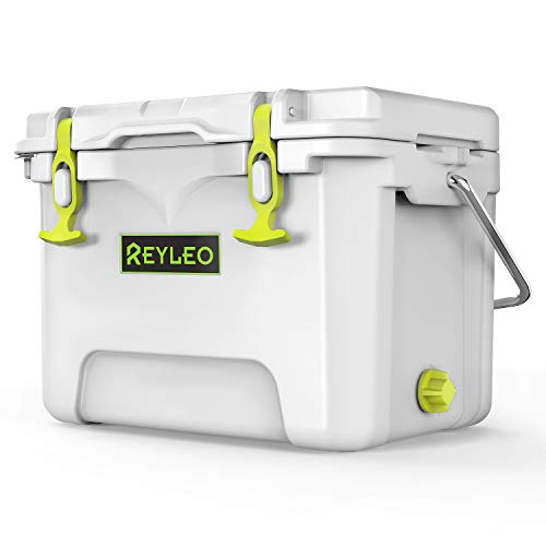 REYLEO Camping Cooler|PortableRotomolded CoolerKeeps Ice Up to 5 Days|Bear-Resistant21-QuartIce Chest (Built-in Bottle Opener, Cup Holder, Fish Ruler) for Camping,BBQs, Tailgating, Fishing