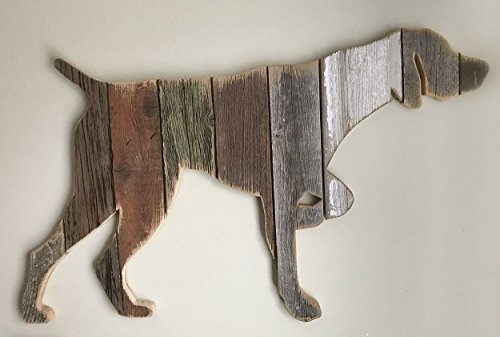 (Wooden German Shorthaired Pointer pose4 silhouette made with reclaimed wood (sold-order yours now))