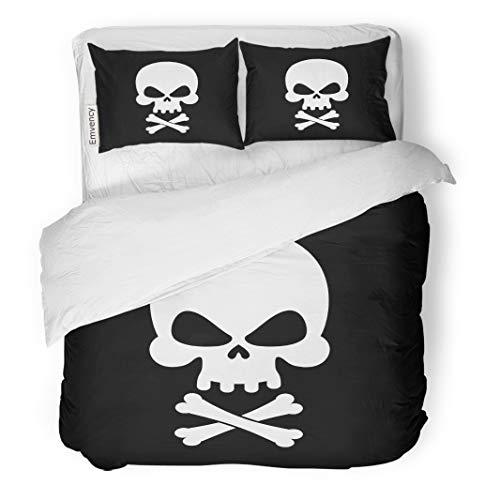 (Semtomn Decor Duvet Cover Set King Size Cross Pirate Flag Skull Black Filibuster Head Skeleton Pirates Adventure 3 Piece Brushed Microfiber Fabric Print Bedding Set)