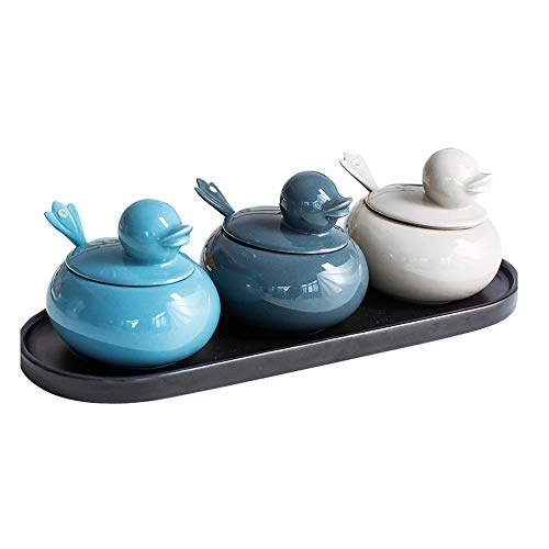 - QIANZICAI Seasoning Box - 3 Ceramic Seasoning Boxes with 3 Ceramic Seasoning Spoons and 3 Ceramic lids, Integral Ceramic Tray, Suitable for Home Kitchen Gifts. Spice jar