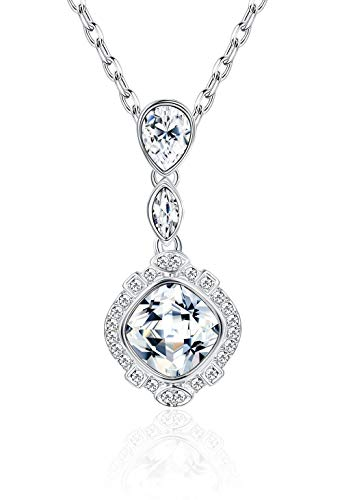 Sllaiss Y-Shaped Teardrop Crystal Pendant Necklace for Women Dangling Pear-Shaped Wedding Pendant for Brides, Crystals from Swarovski