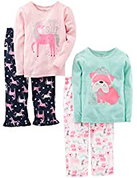 Little Kid and Toddler Girls' 4-Piece Pajama Set