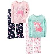 Girls' 4-Piece Pajama Set