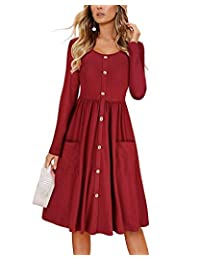 INIBUD Skater Dresses for Women Button Down with Pockets