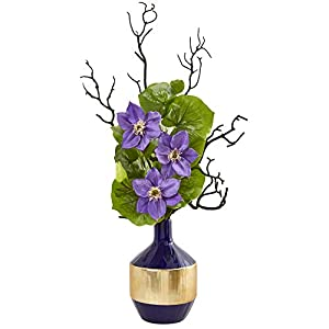 """Nearly Natural 1935-LV 22"""" Anemone and Lotus Leaf Artificial Vase Silk Arrangements, Lavender 60"""