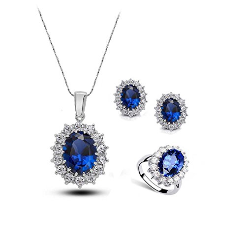 - Oval Crystal Jewelry Sets Women Sapphire Earrings and Necklace Ring Set Silver Plating