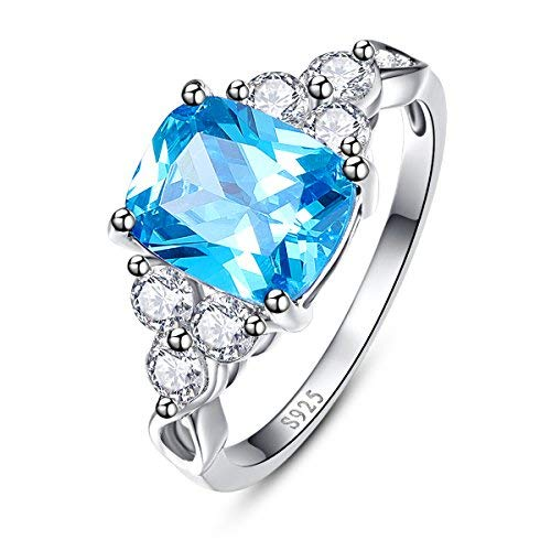 BONLAVIE Sterling Silver Cushion Cut Created Swiss Blue Topaz Cubic Zirconia Promise Engagement Ring Size ()