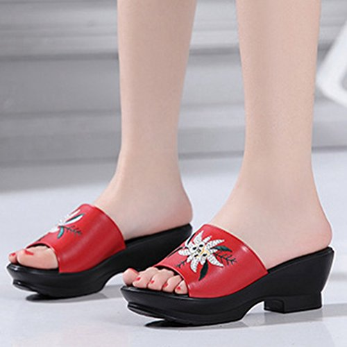 Bordado Diapositiva Sandalias Rojo Dedo Vestido Confort Retro Mujeres Sandalias Zapatillas del Plataforma Cuñas Flor pie pqcZwA