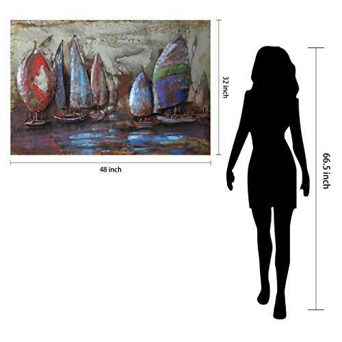 Empire Art Direct ''The Regatta 2'' Mixed Media Hand Painted Iron Wall Sculpture by Primo by Empire Art Direct (Image #4)