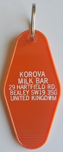 A Clockwork Orange Korova Milk Bar Inspired Key Tag in Orange and White Block - In Block Orange The