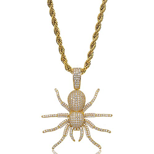 JINAO Hip Hop Iced Out Spider Design Pendant Necklace with Micropave Simulated Diamond (Gold) ()