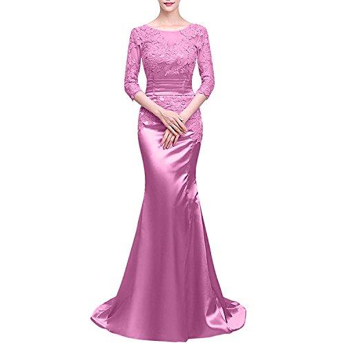 Satin Partykleider Rosa Abendkleider Ballkleider Damen Abschlussballkleider Meerjungfrau mit Charmant Dunkel Langarm qE7CpxwP