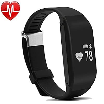 Fitness Tracker, YAMAY® Bluetooth Smart Bracelet Band Activity Tracker for Android iOS iPhone Music & Camera Remote Control Distance Pedometer Sleep Monitor Calories Burned for Running Women Men Black