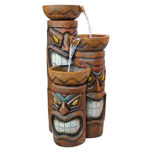 Design Toscano SS11521 Aloha Tiki 3 Bowl Garden Decor Cascading Fountain Water Feature, 29 Inch, Full Color