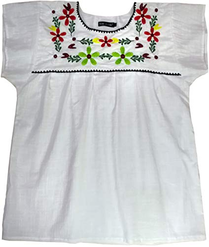 YZXDORWJ Embroidered Mexican Peasant Blouse White Peasant Blouse (L, White)