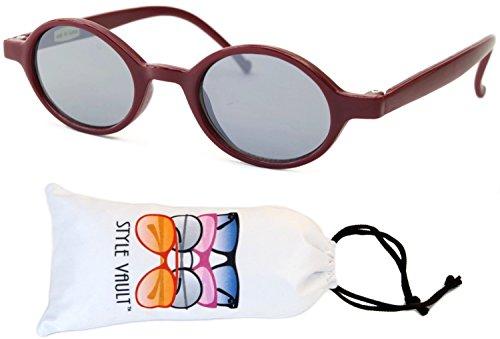 KD3040-vp Babies (0~12 months) Plastic Round Sunglasses (B3190F Burgundy red-light mirror, UV400) -