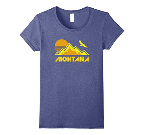 Womens Retro Montana T Shirt Distressed Hiking Tee Large Heather Blue